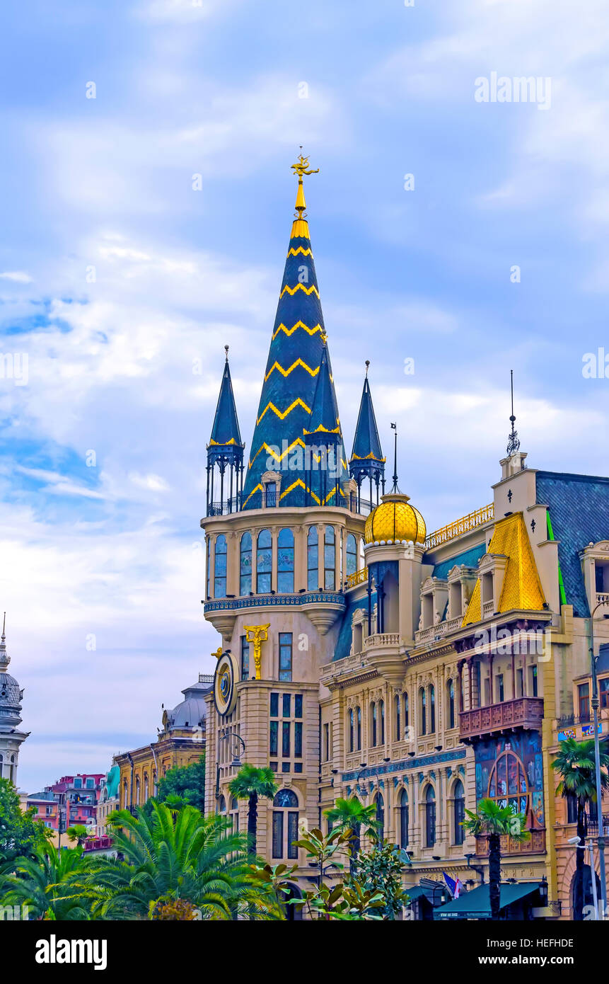 National Bank of Georgia with Astronomical Clock Batumi Georgia architecture. - Stock Image