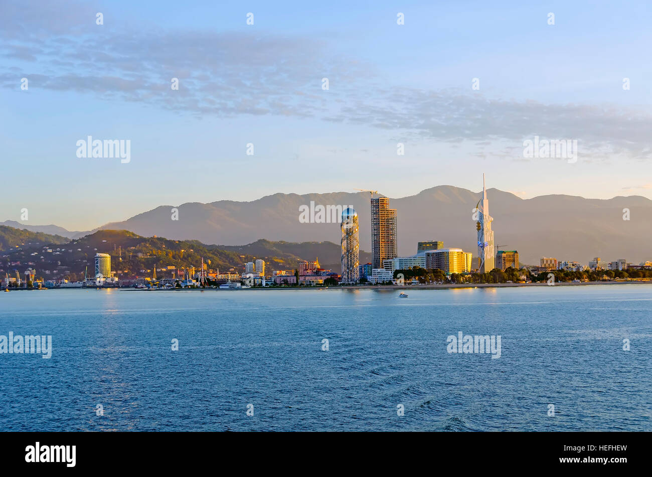 Batumi Georgia architectural styles seen seen from the Black Sea. - Stock Image