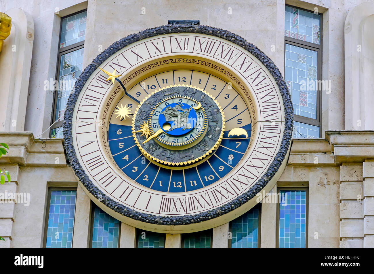 Astonomical Clock on the Bank of Georgia, Batumi Georgia. - Stock Image