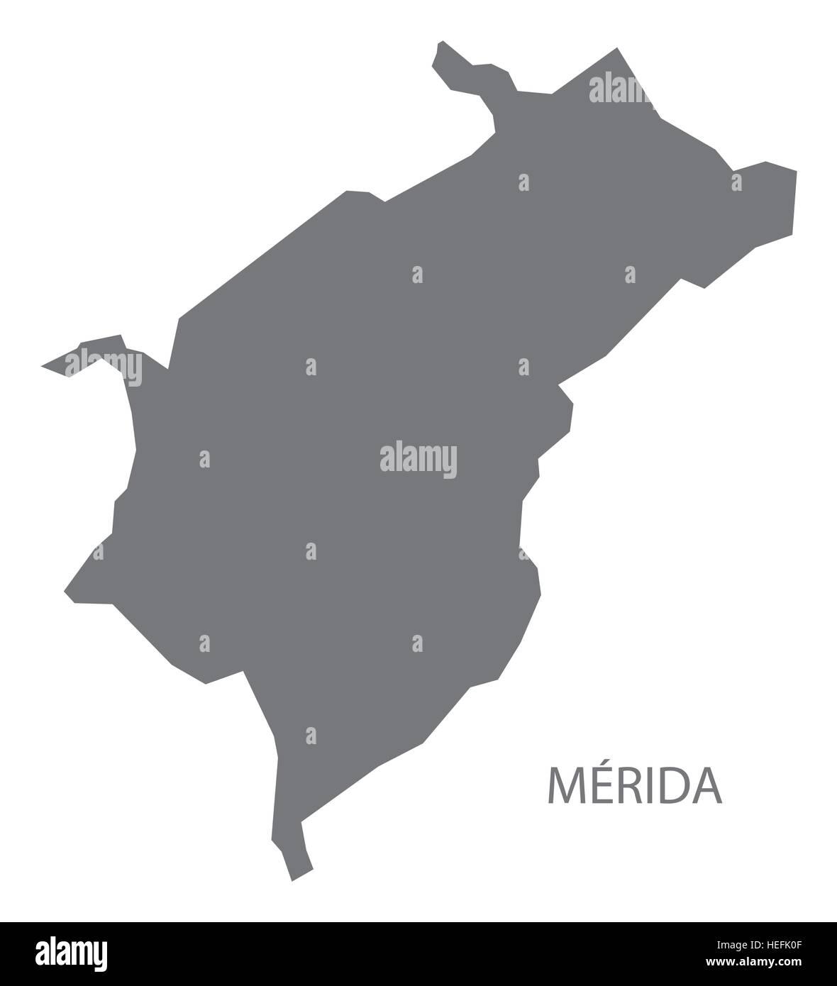 Merida Venezuela Map in grey Stock Vector