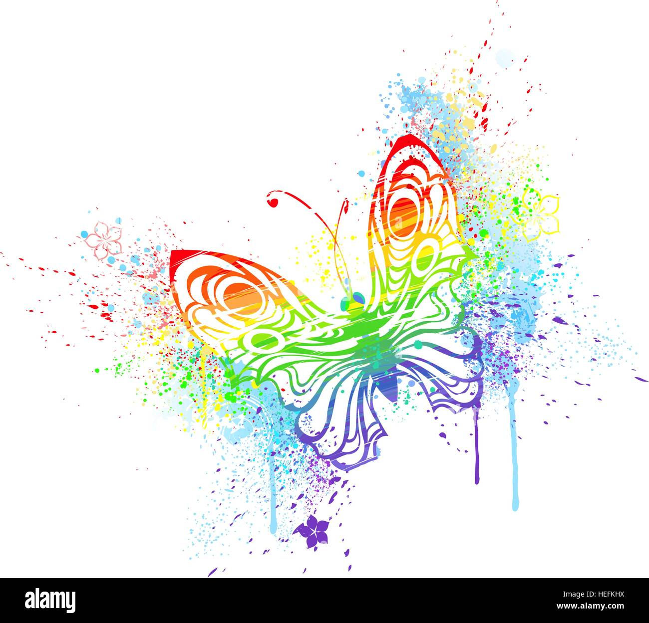 stylized butterfly painted with rainbow colors, on a white background. - Stock Vector