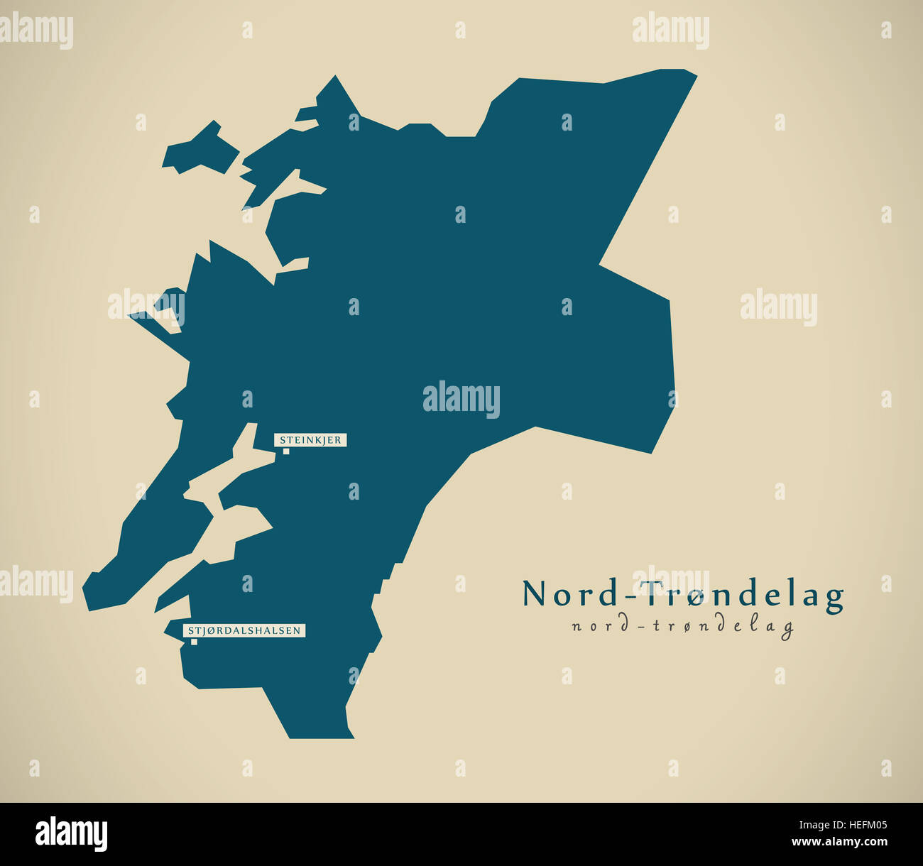 Modern Map - Nord Trondelag Norway NO illustration - Stock Image