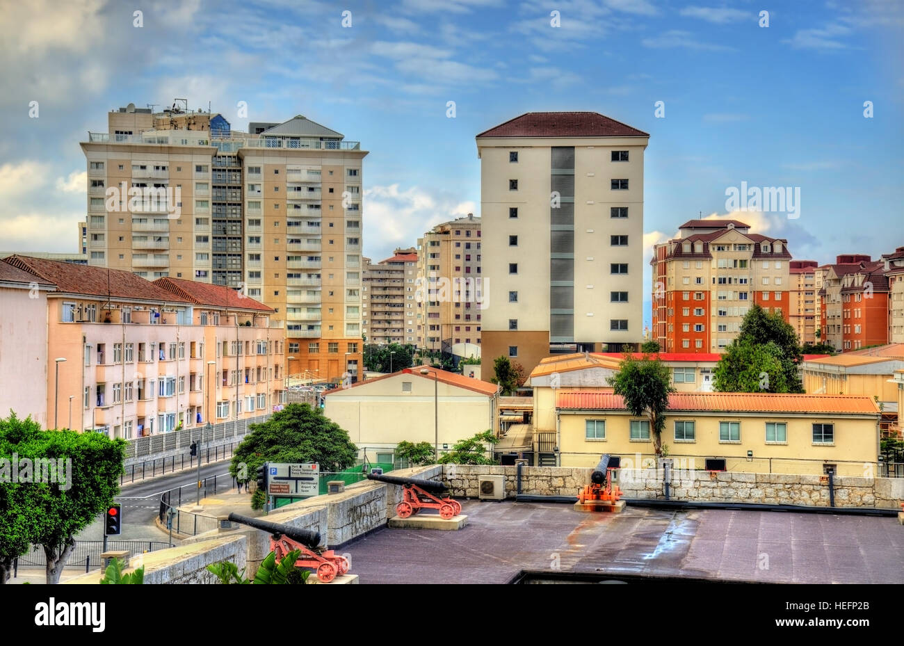 View over the Orange Bastion in Gibraltar - Stock Image