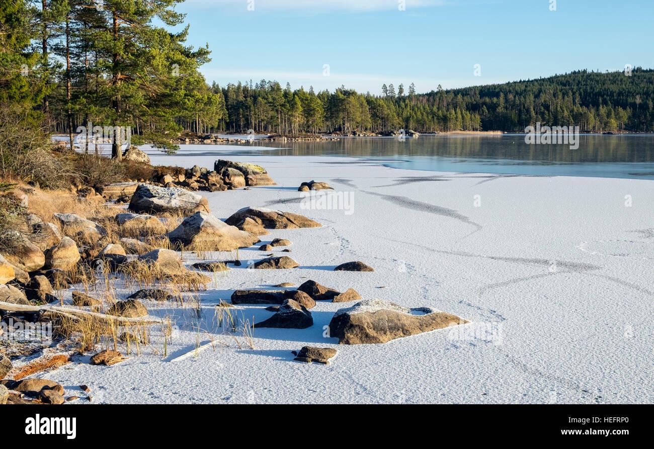 Frozen lake, Sweden - Stock Image