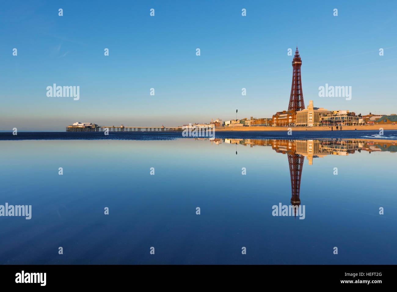 Blackpool; Beach and Tower; Lancashire; UK - Stock Image