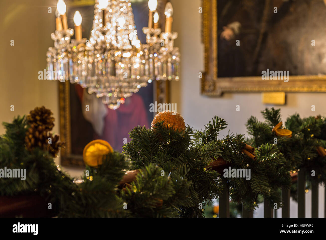 Grand english country house Christmas decorations Stock Photo ...