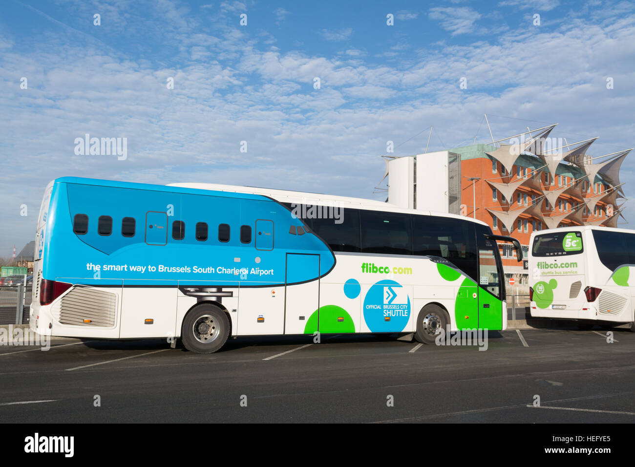 Charleroi Brussels coach transfer  at Charleroi airport south brussels, Belgium, Europe - Stock Image