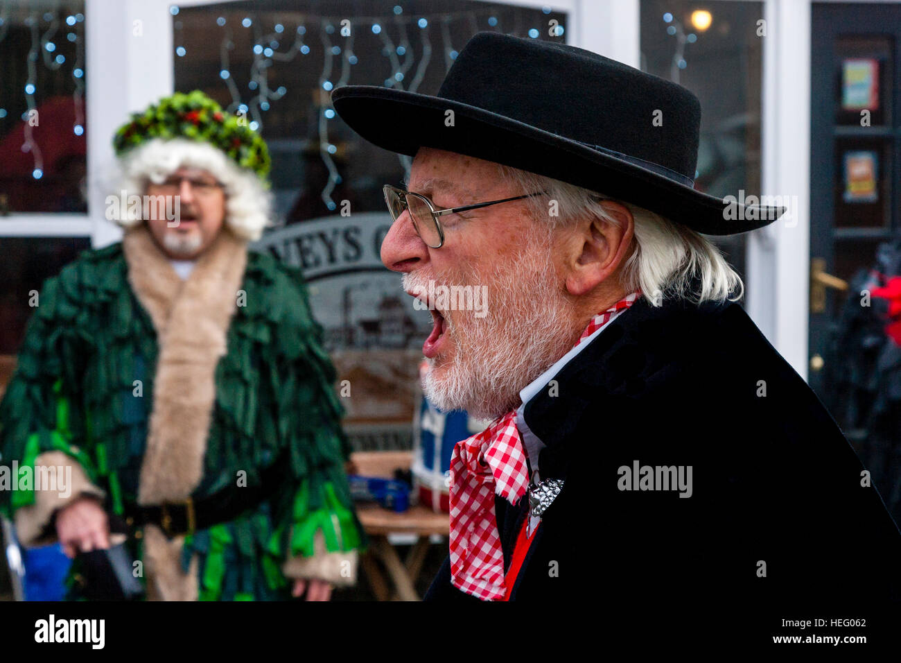Ditchling Mummers Perform A Traditional Play In Aid Of Charity In Lewes Town Centre, Lewes, Sussex, UK - Stock Image