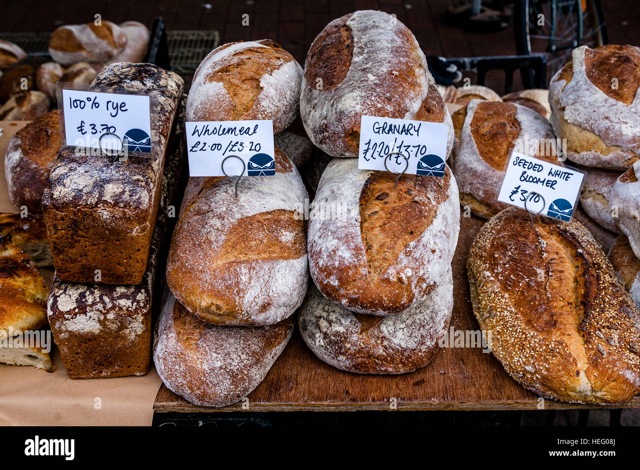 Loaves Of Bread Available At A Farmers Market, Lewes, Sussex, UK - Stock Image