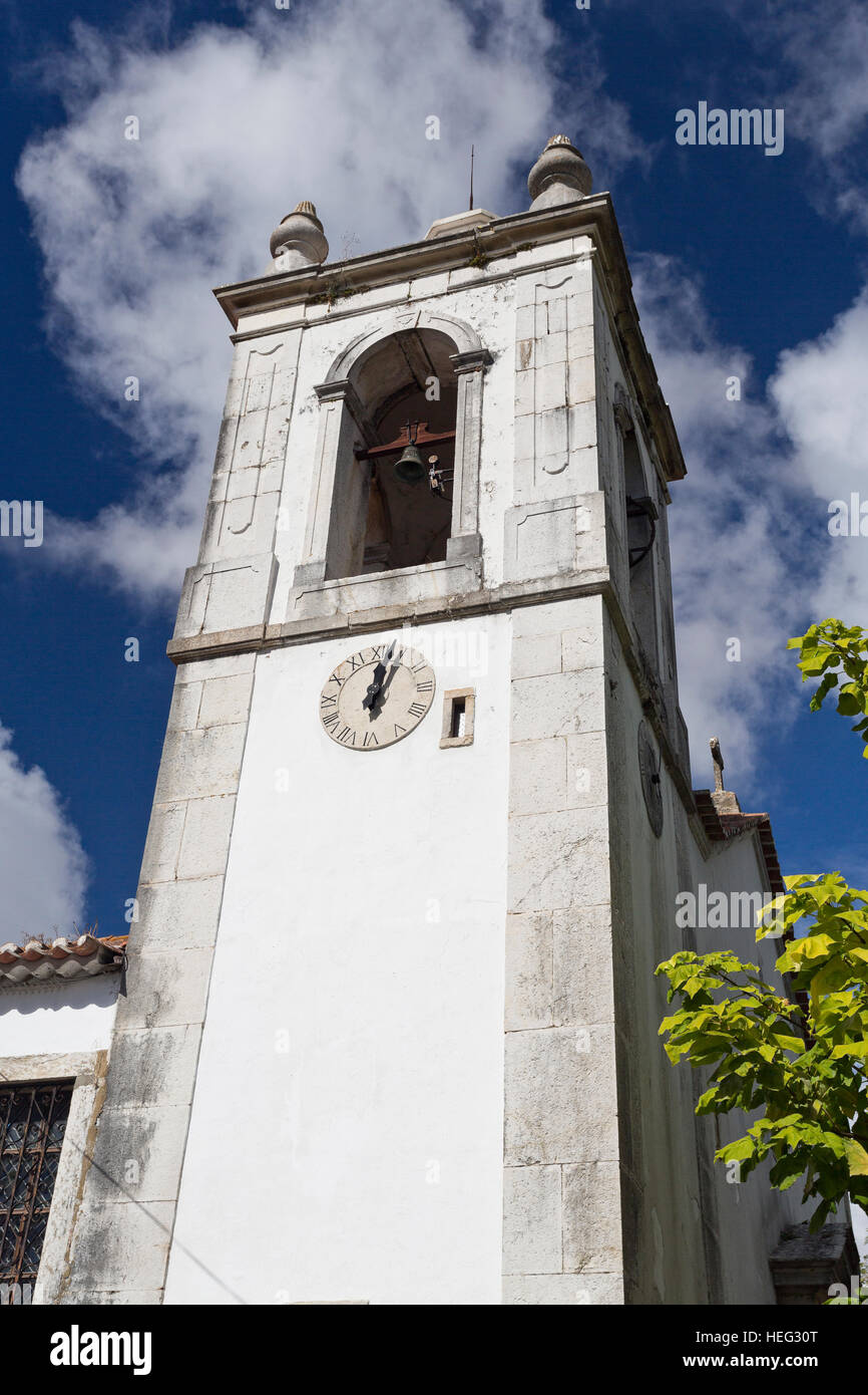 Bell tower of the 16th century baroque Church of Saint Simon in Azeitao, Portugal - Stock Image