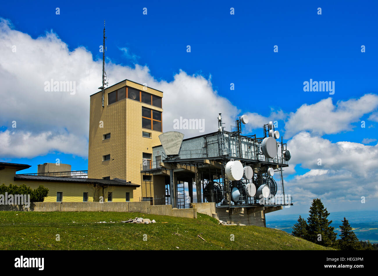 Relay station La Barillette, Jura, Nyon, Canton of Vaud, Switzerland - Stock Image