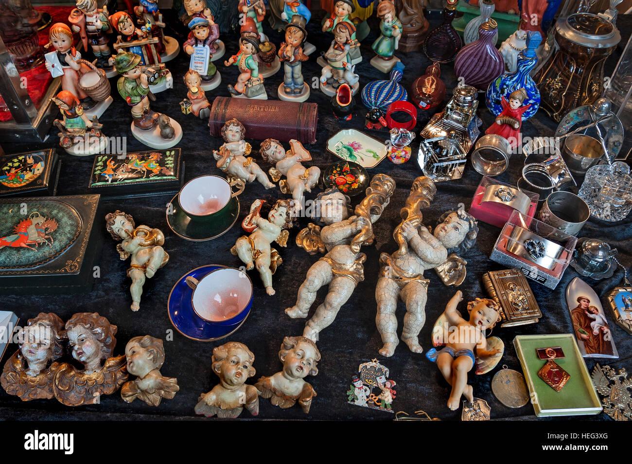 Hummel figurines, Auer Dult, Munich, Bavaria, Germany - Stock Image