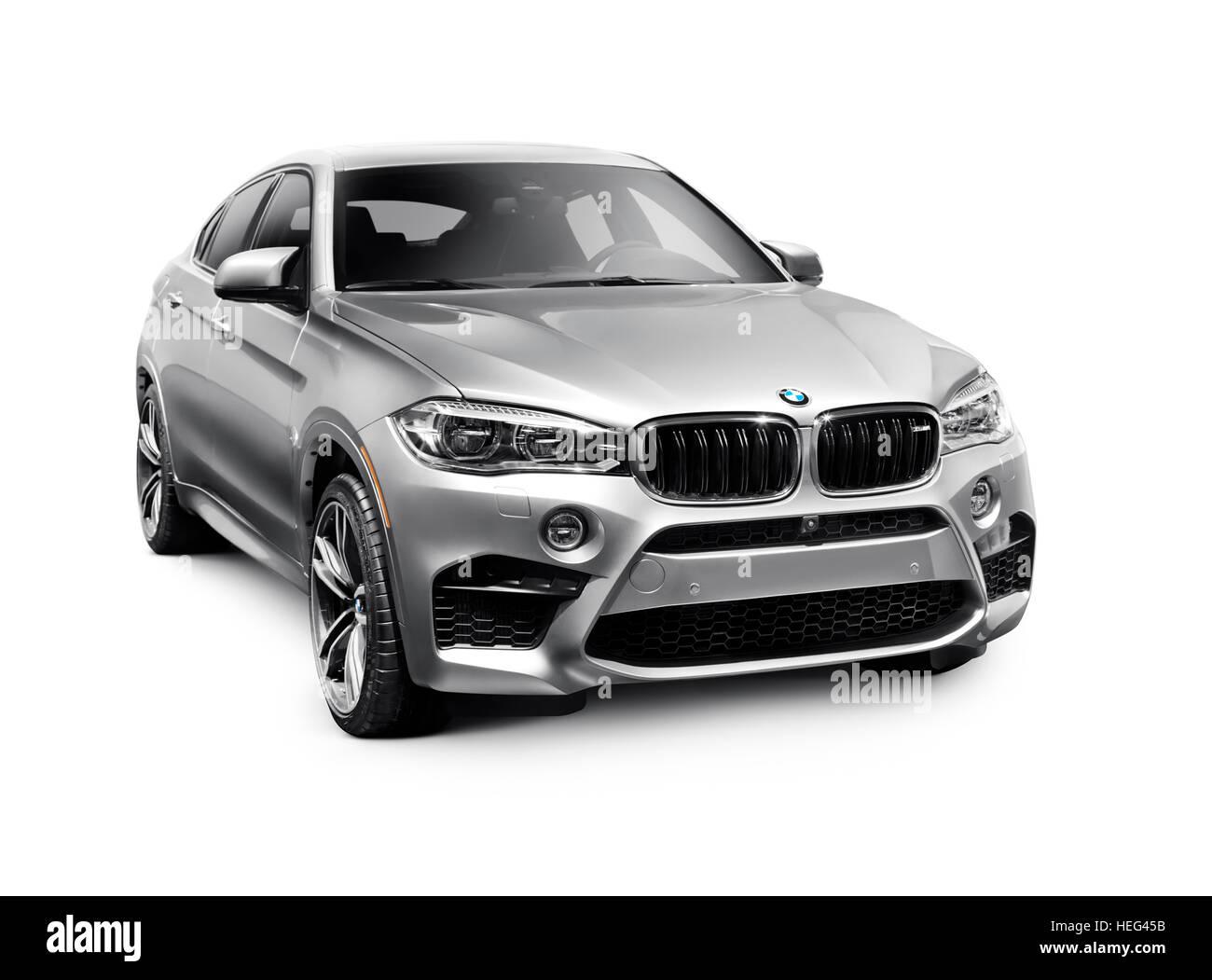 Silver 2016 BMW X6 M crossover SUV, luxury car - Stock Image