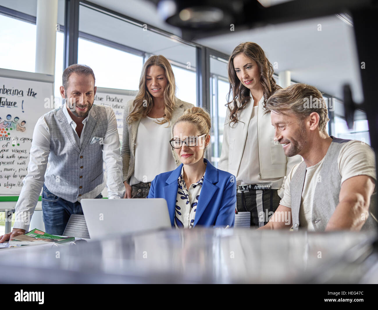 Creative teamwork, presentation, project, workshop, training, seminar for executives, adult education, Austria - Stock Image