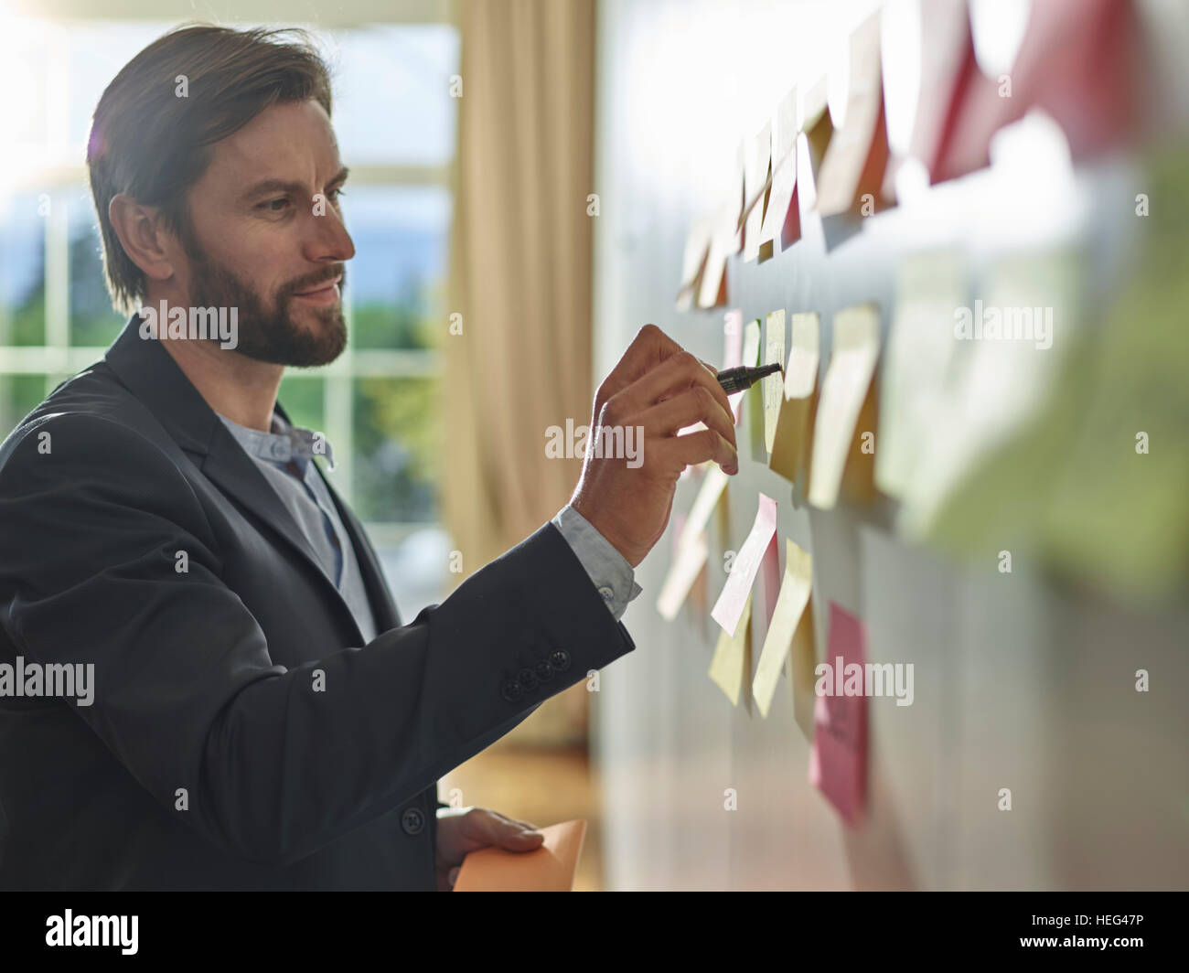Brainstorming, brainstorming, Post-it, project work, workshop, training, seminar for executives, adult education, - Stock Image