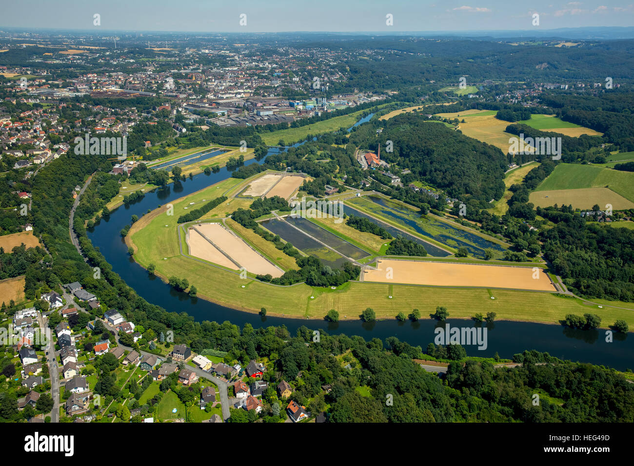 Aerial view, water purification plants, Ruhr Valley, Witten, North Rhine-Westphalia, Germany - Stock Image