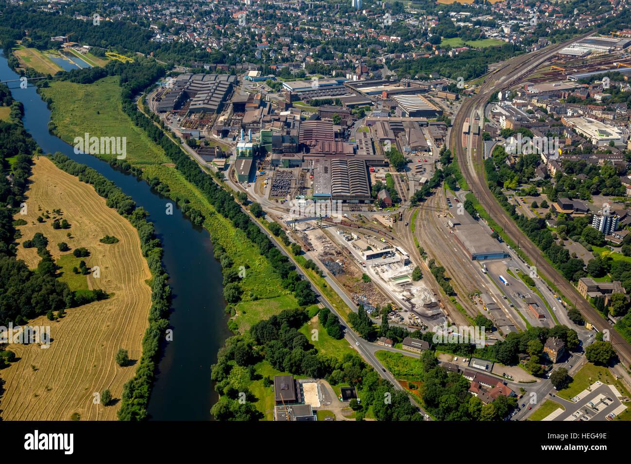 Aerial view, industrial district, German Edelstahlwerke GmbH, steelworks, Ruhr Valley, Witten, North Rhine-Westphalia, - Stock Image