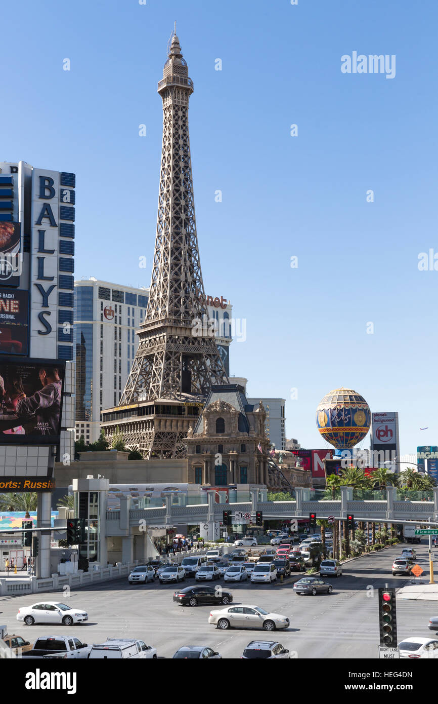 Hotel Paris, replicated Eiffel Tower, Las Vegas, Nevada, USA - Stock Image
