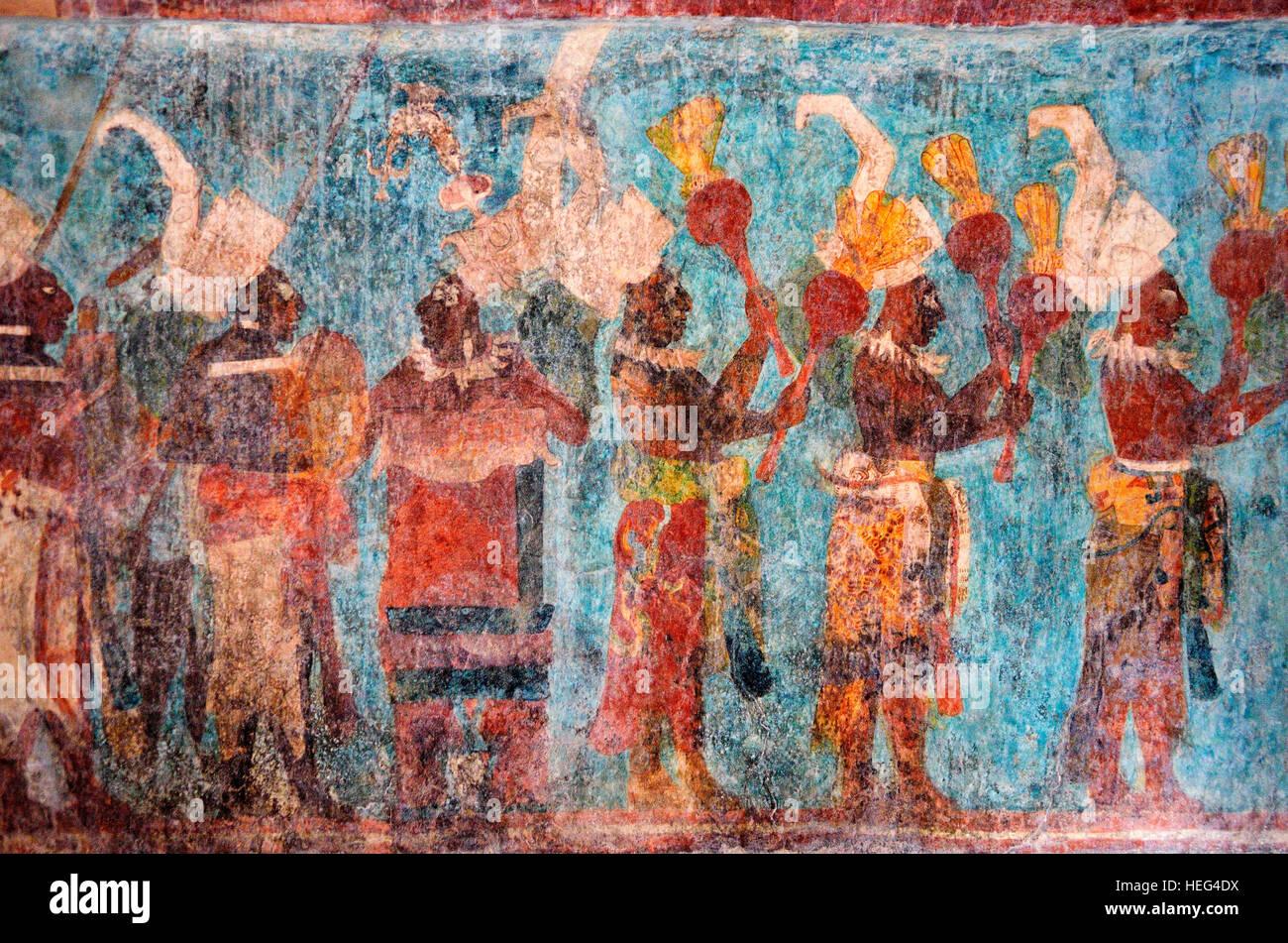 Original mural in temple, Templo de las Pinturas, ancient Maya archaeological site, Bonampak, Lacanja Chansayab, - Stock Image