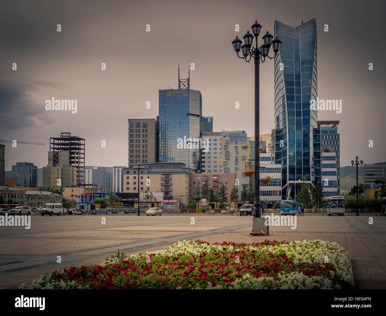 Chinggis Square with Blue Sky Tower, Ulaanbaatar, Mongolia Stock Photo