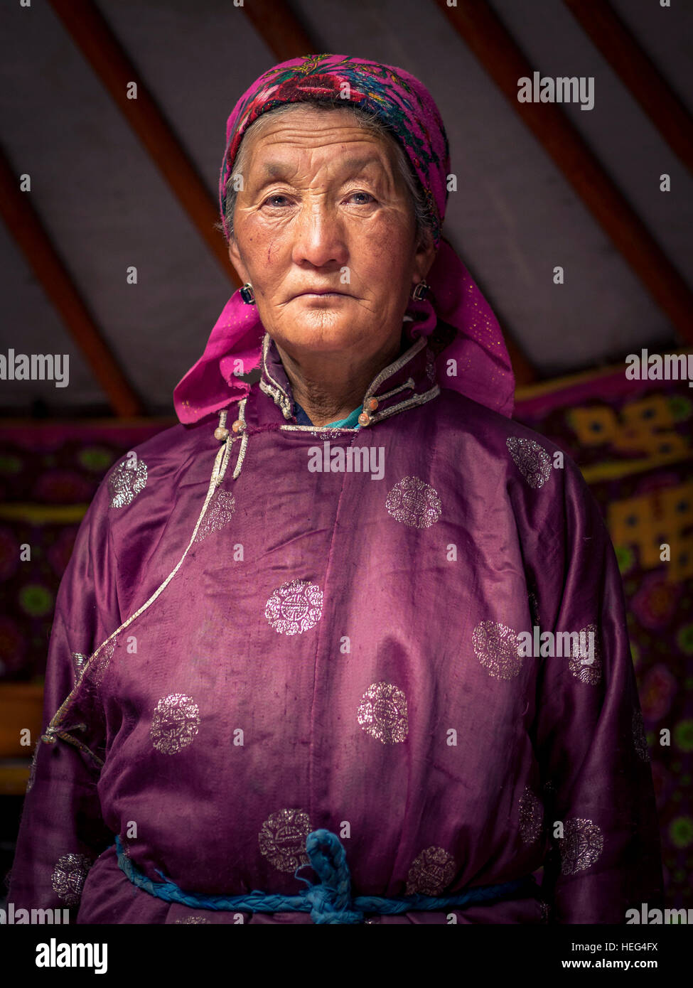 Elderly woman in nomad yurt, Mongolia - Stock Image