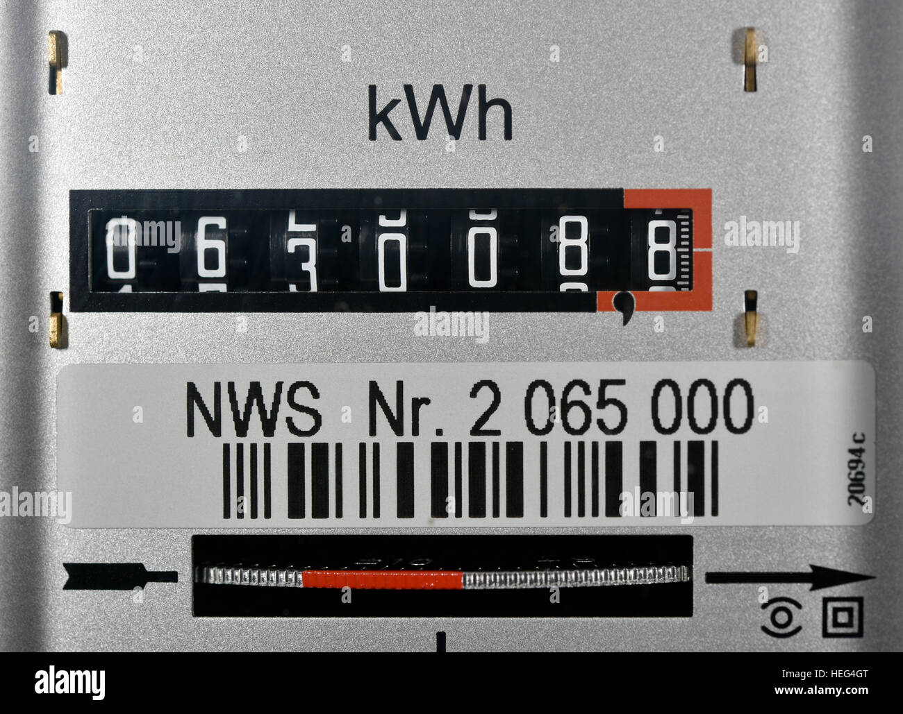 Symbolic image, energy costs, electricity meter Stock Photo