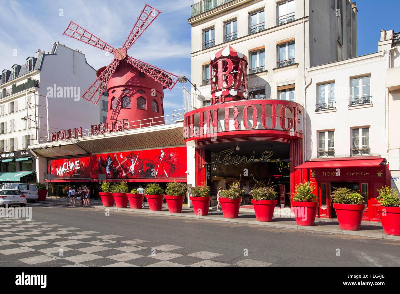 Varietétheater Moulin Rouge, Montmartre, Paris - Stock Image