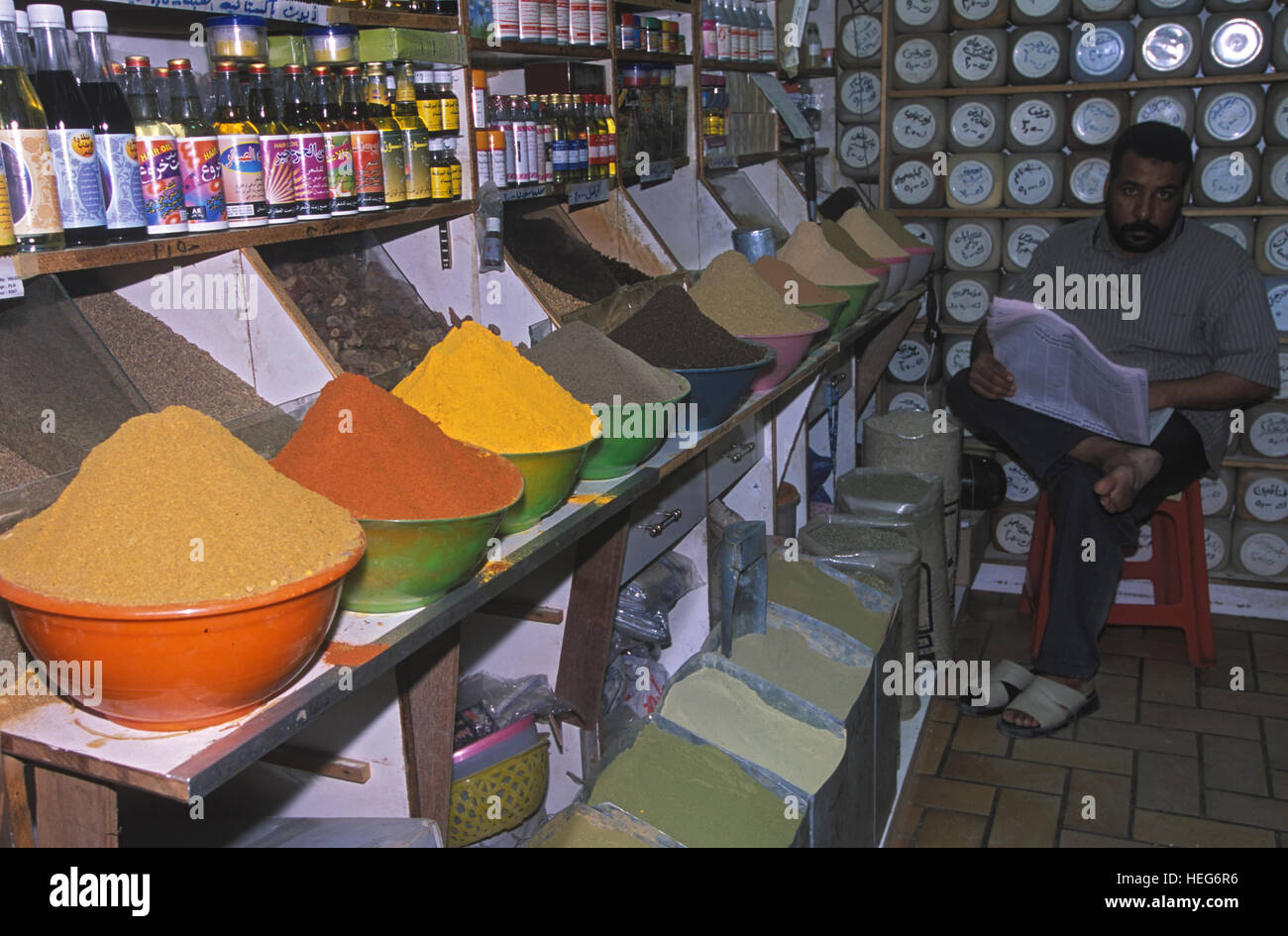 Colorful spices at Kuwait Indoor Market. Kuwait - Stock Image