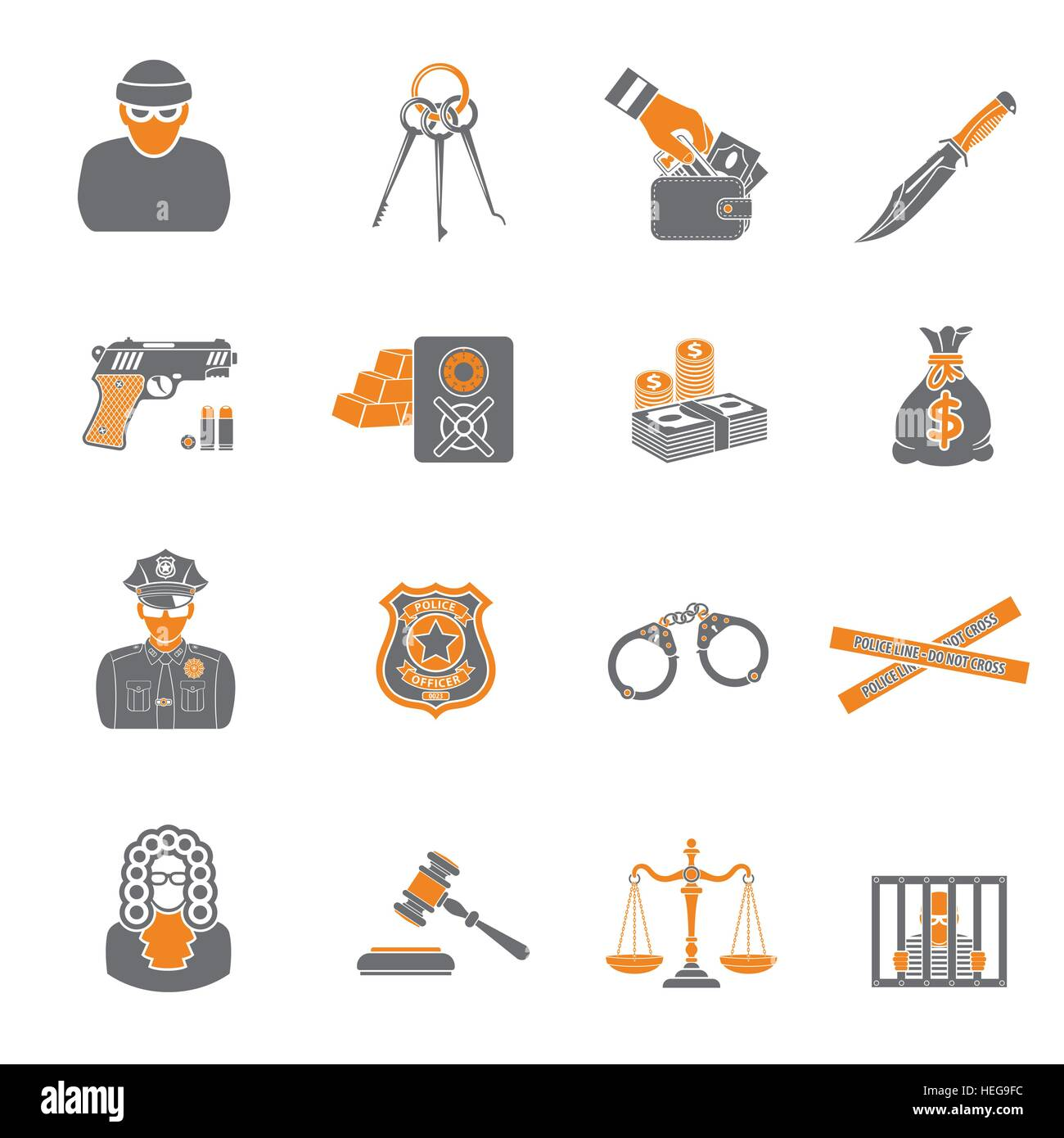 Crime and Punishment two color Icons Set - Stock Vector