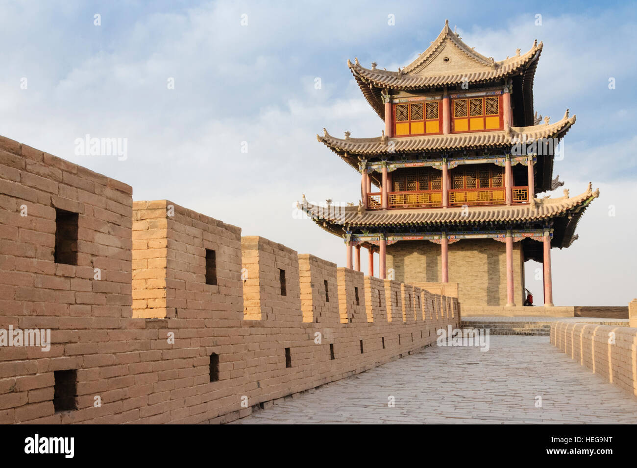 Jiayuguan fort at the western confine of the Great Wall. Jiayuguan, Gansu province, China, Asia The pass was a key - Stock Image