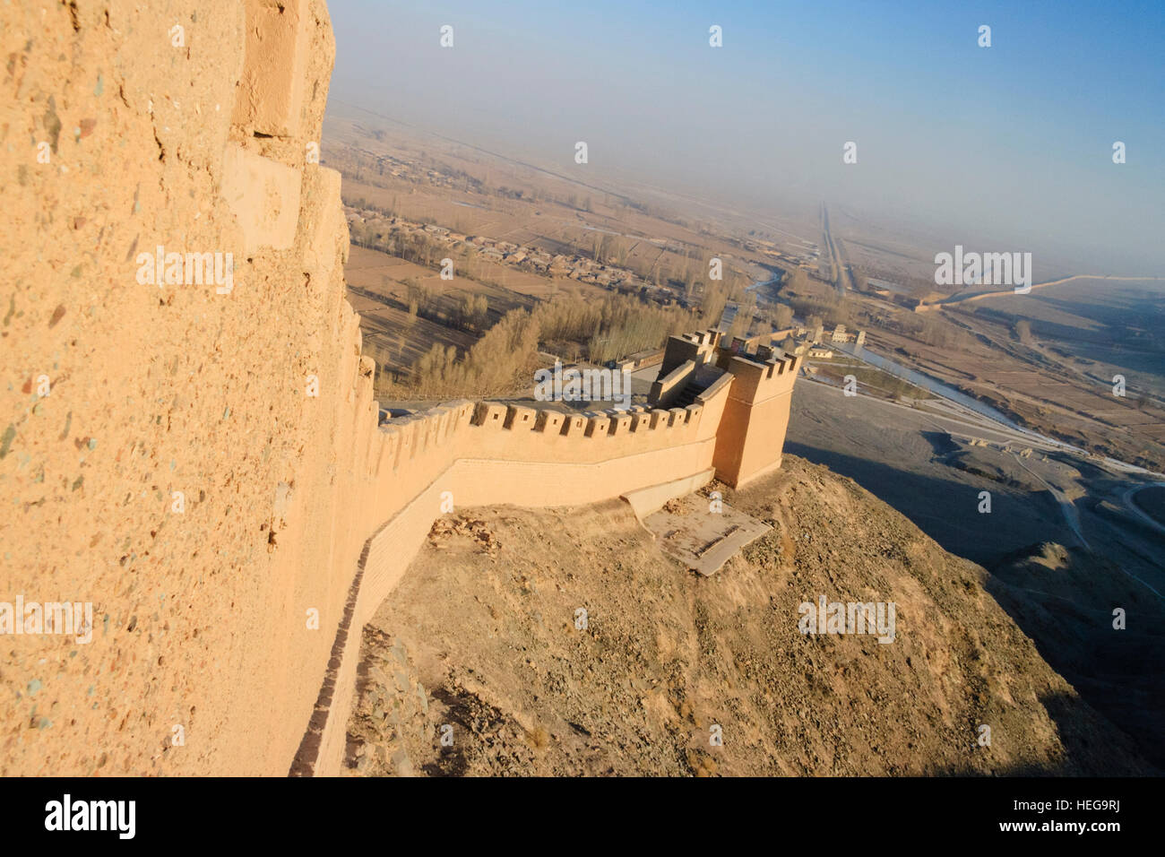 Western confine of the Great Wall at Jiayuguan, Gansu province, China, Asia - Stock Image