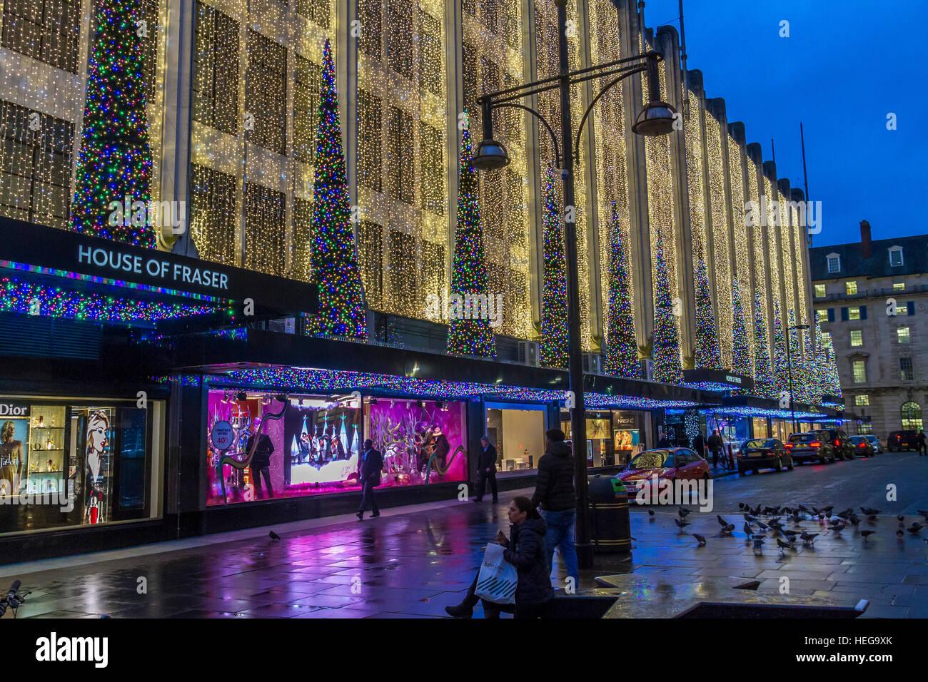 House Of Fraser ,Oxford St , Christmas Lights ,London - Stock Image
