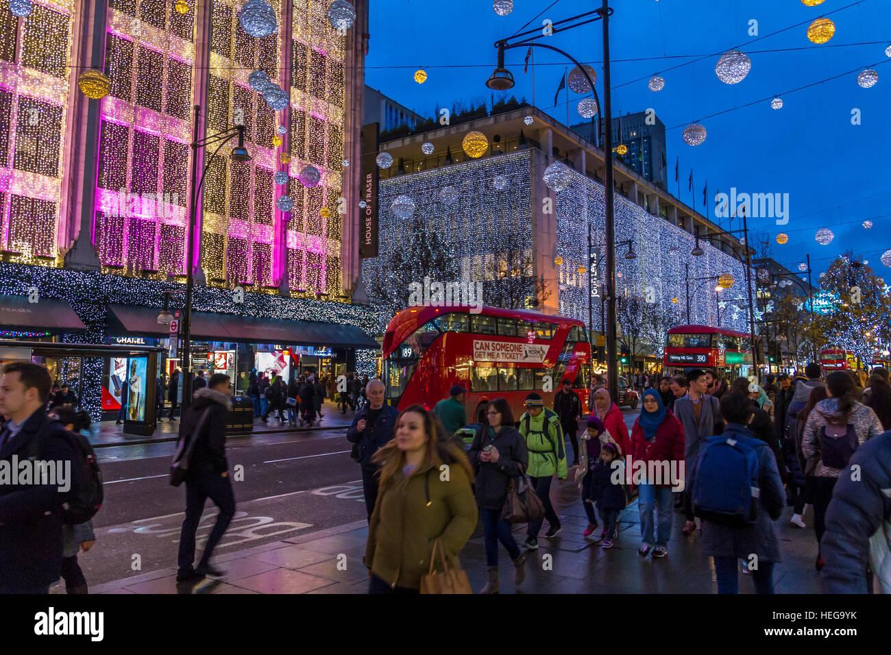 Oxford St ,Christmas, Lights ,London - Stock Image