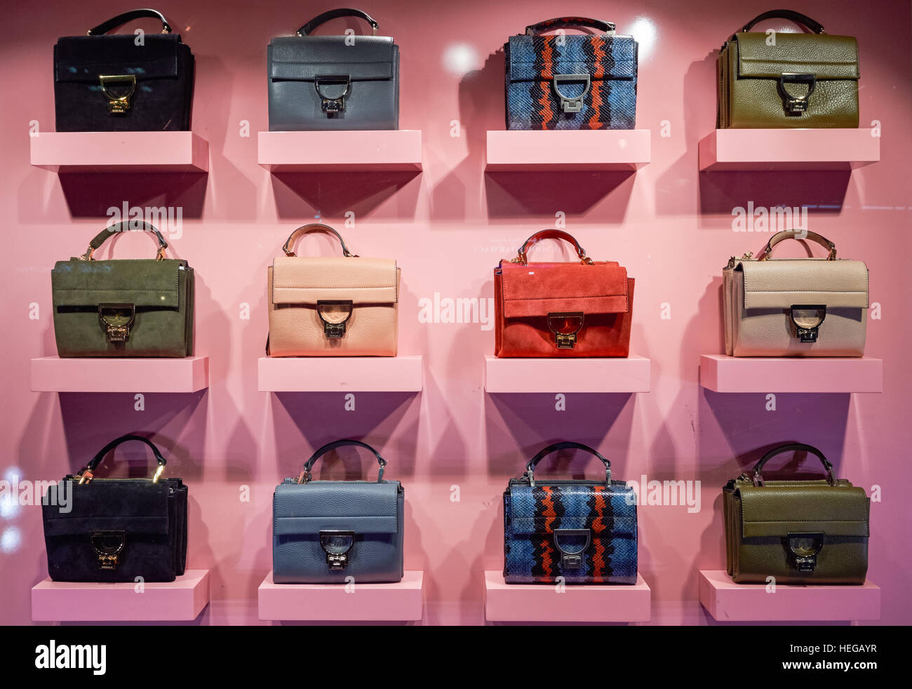Well-known Bags on window display in Coccinelle shop at Brompton Road Stock  MR83