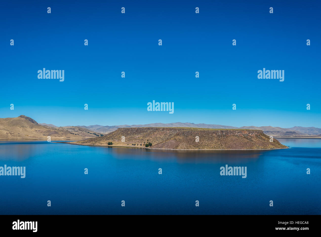 Titicaca Lake from Silustani in the peruvian Andes at Puno Peru - Stock Image