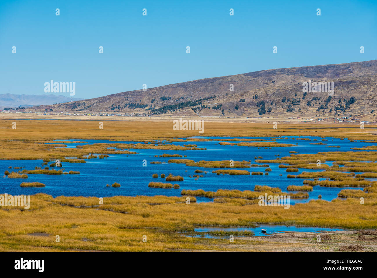 Titicaca Lake in the peruvian Andes at Puno Peru - Stock Image