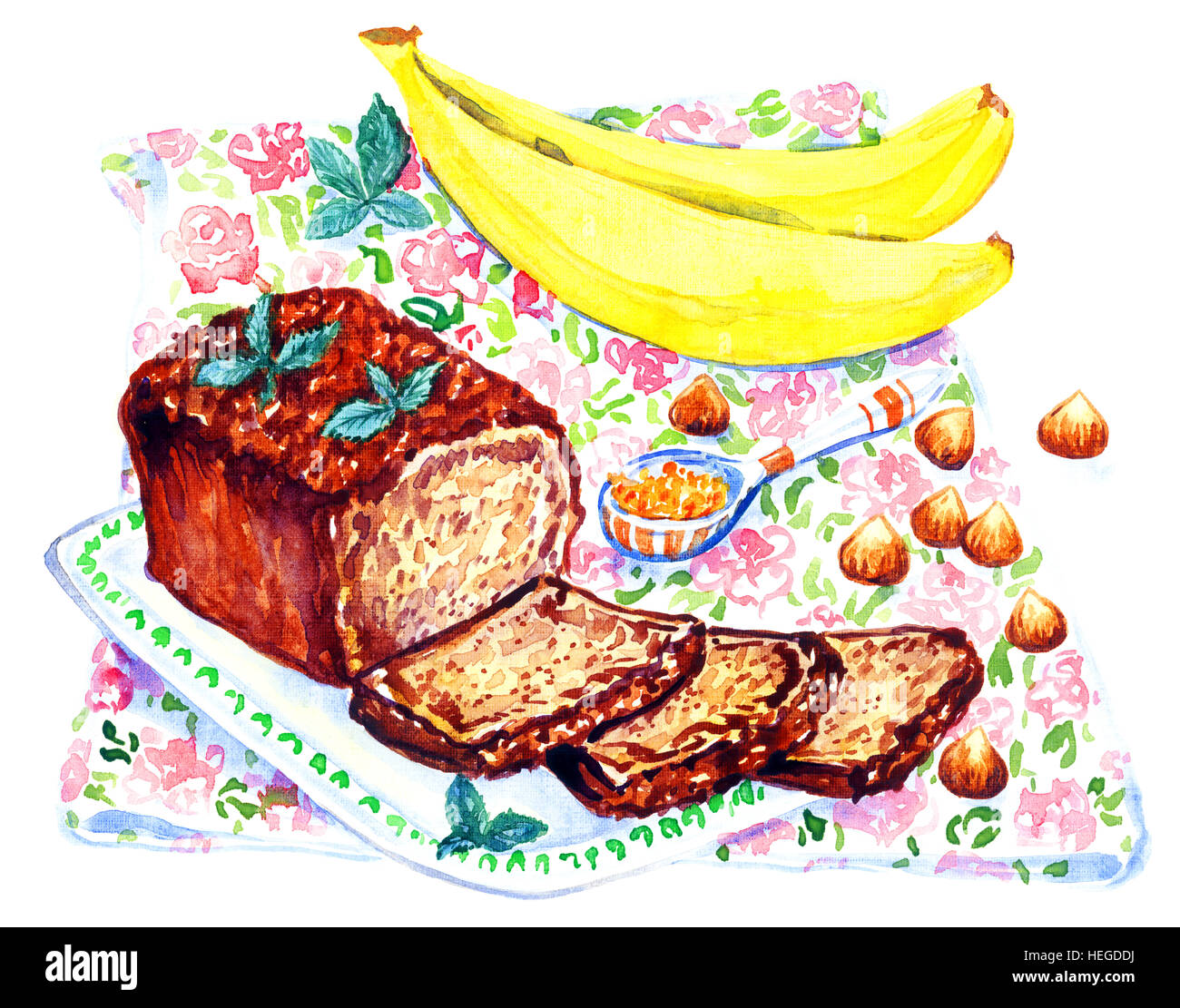 Hand Painted Watercolor Illustration Banana Bread And Ingredients On Stock Photo Alamy