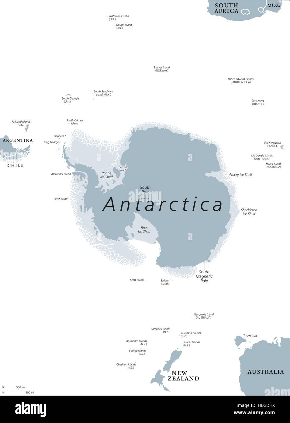 Antarctica Political Map The Antarctic Polar Region Around The