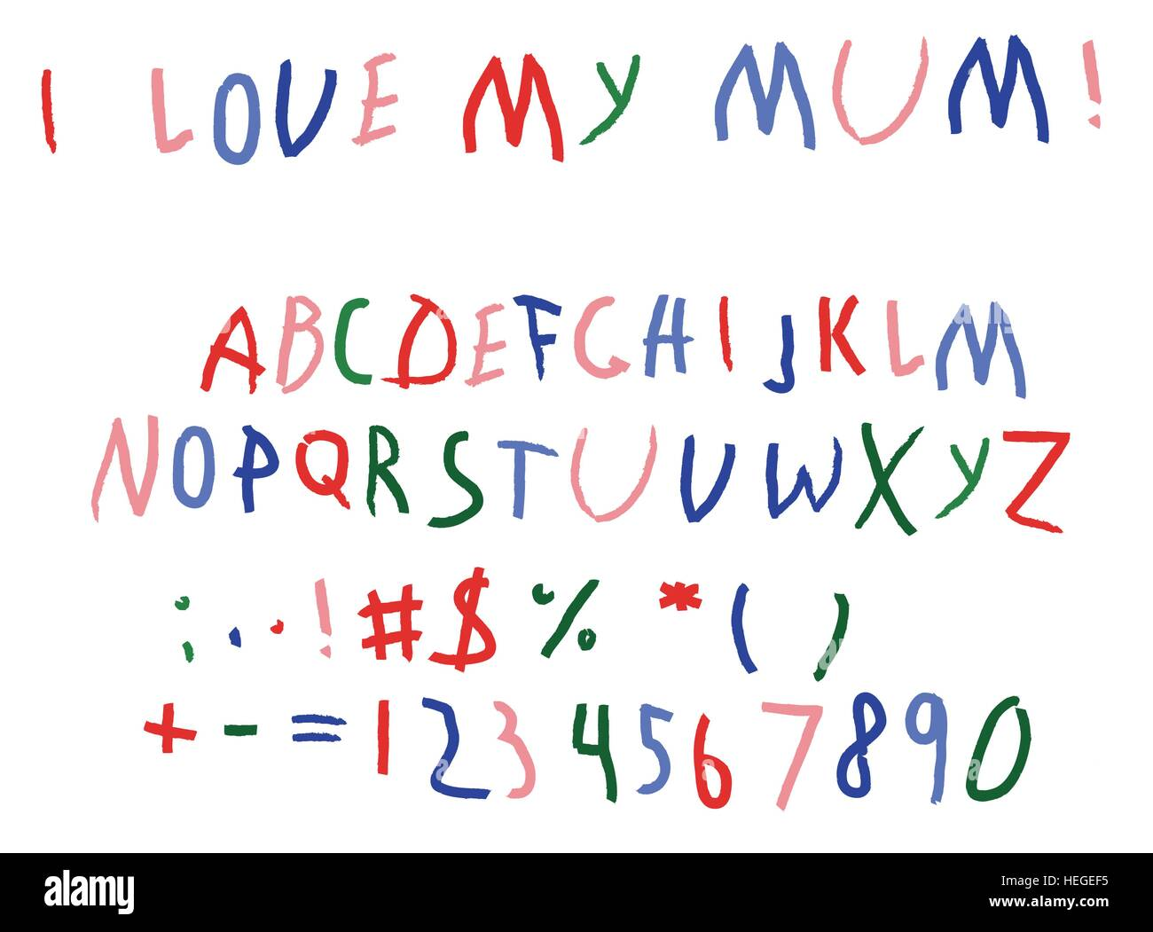 Child baby script letters font hand writing.