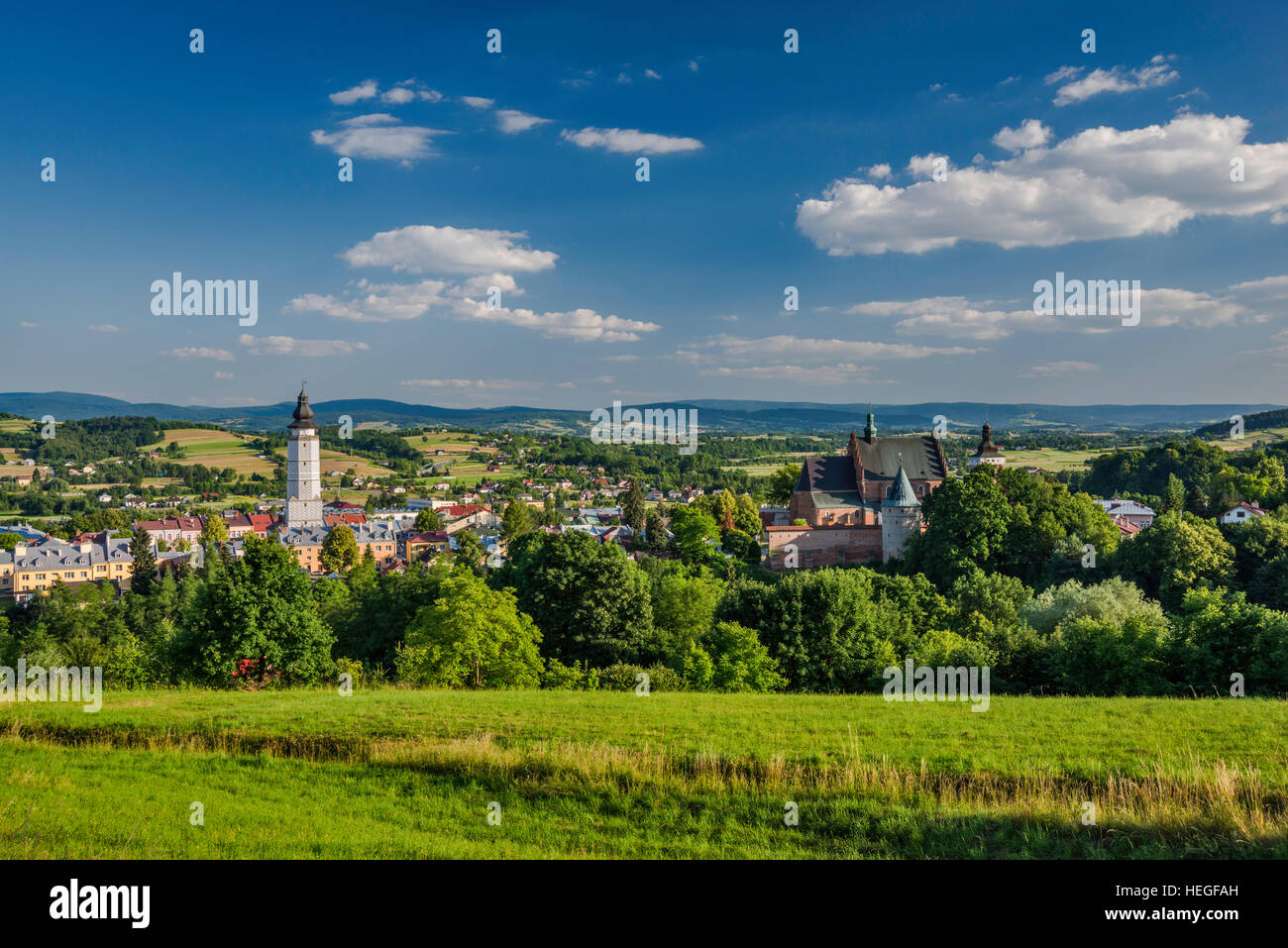 View of town of Biecz in Ropa River Valley, Malopolska, Poland - Stock Image