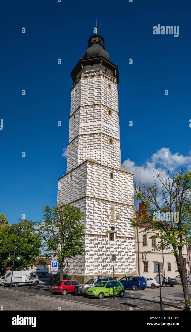 Town Hall Bell Tower, 1569, covered with sgraffito, at Rynek (Market Square) in Biecz, Malopolska, Poland - Stock Image