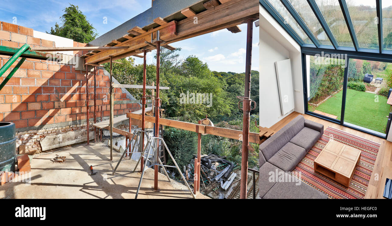 Modern living room with large windows and view on a automnal garden. before and after - Stock Image