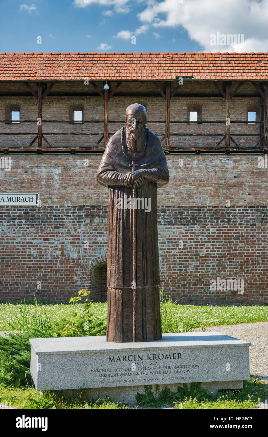Marcin Kromer statue, unveiled in 2012, medieval defensive wall, in Biecz, Malopolska, Poland - Stock Image