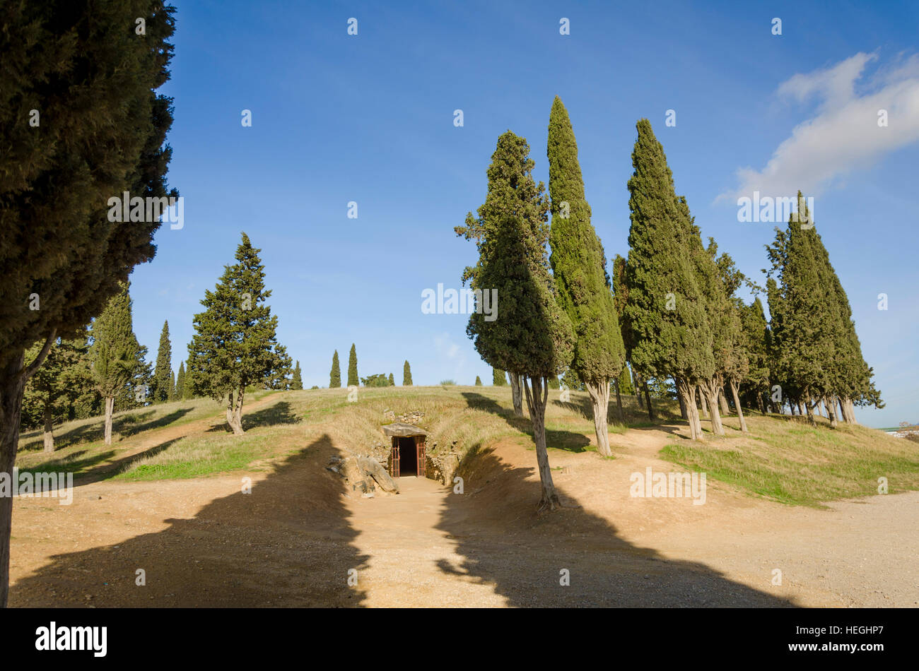 The Romeral Dolmen, dolmens, prehistoric burial chambers, megalithic tombs, Antequera, Andalusia, Spain - Stock Image
