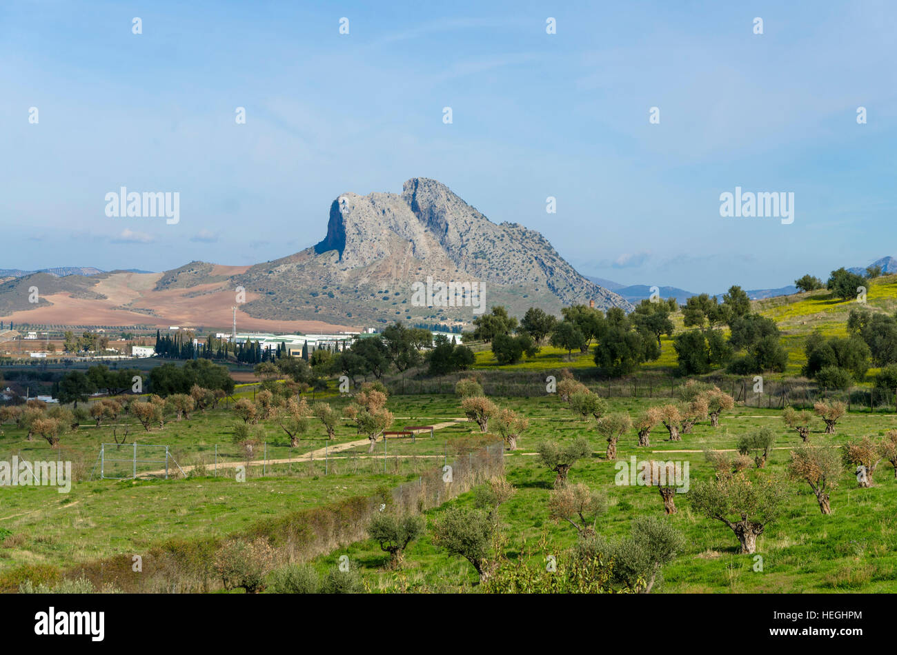 Peña de los Enamorados, mountain outside the town of Antequera, Andalusia, Spain. - Stock Image