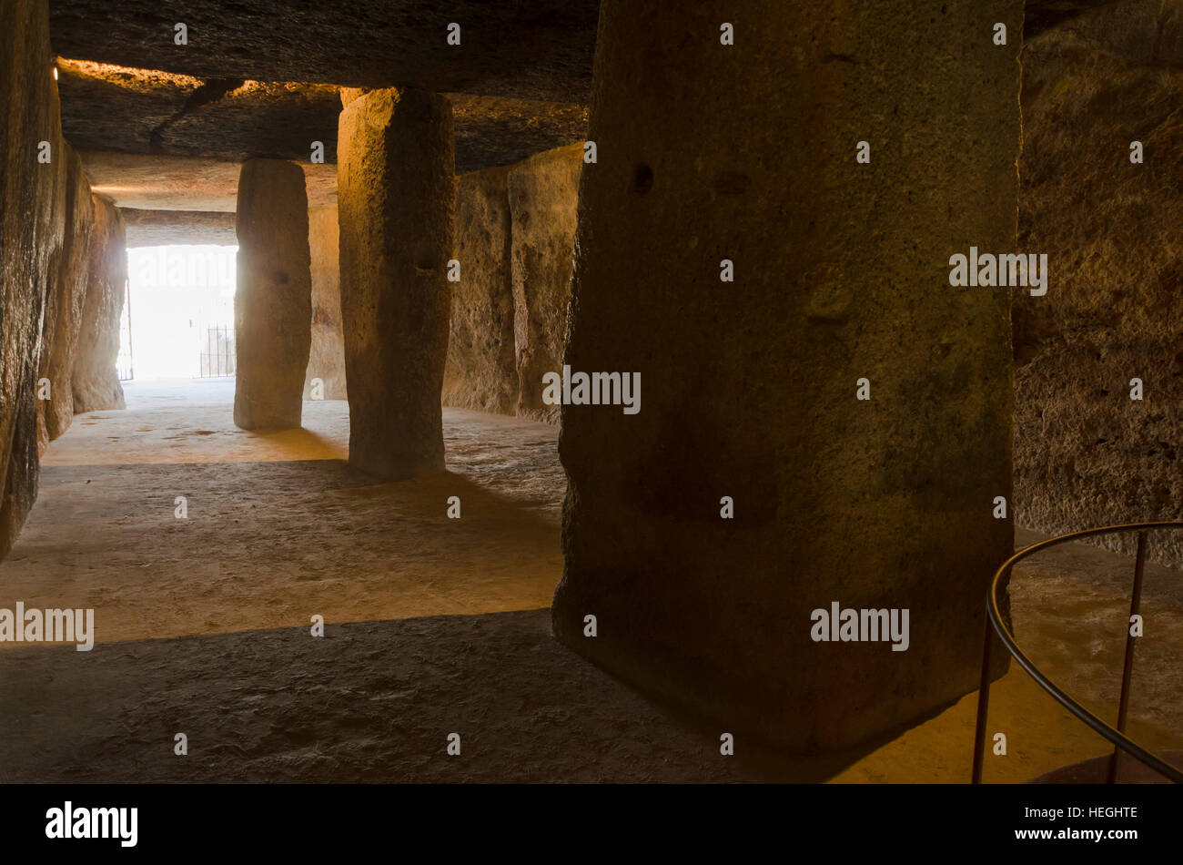 Interior of La Menga Dolmen, dolmens, prehistoric burial chambers, megalithic tombs, Antequera, Andalusia, Spain - Stock Image