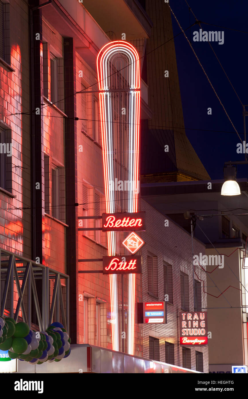 Germany, Ruhr Area, Dortmund, neon light at the pedestrian precinct Westenhellweg in the City. - Stock Image