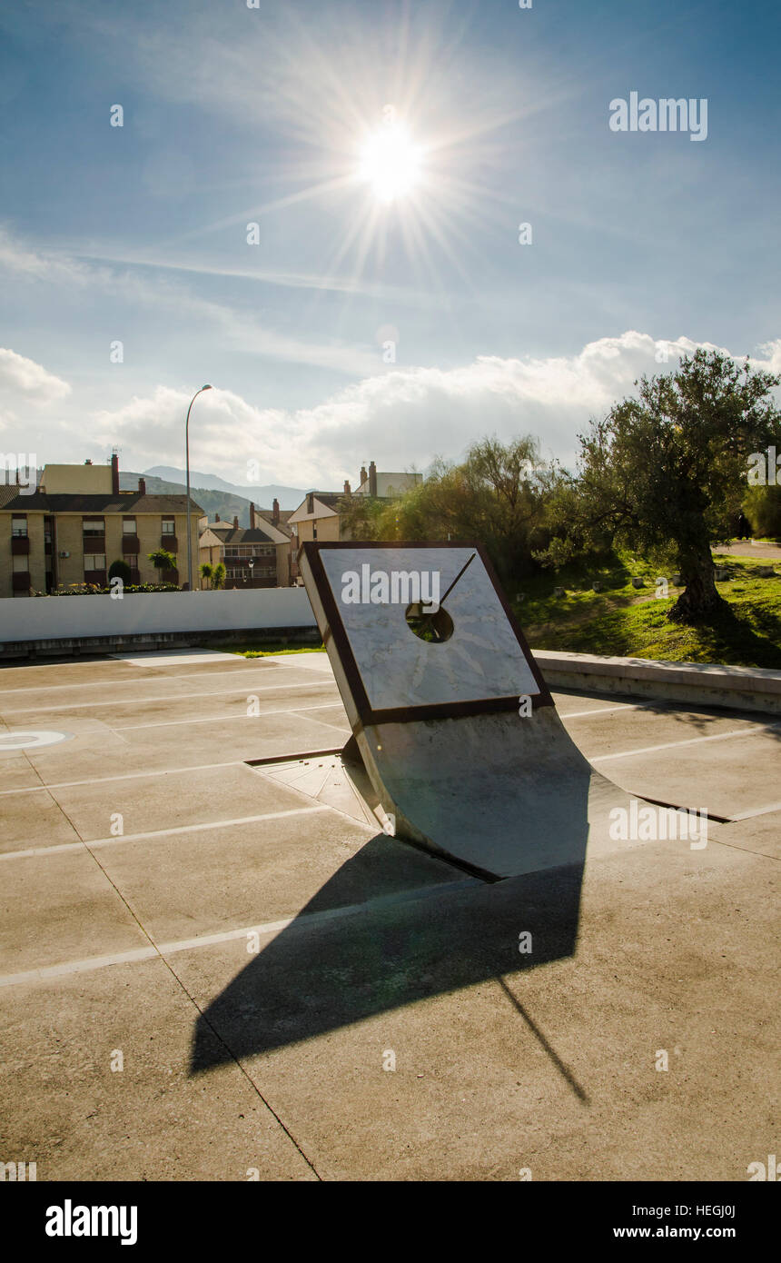 Sun dial by the entrance La Menga Dolmen, dolmens, tomb, Antequera, Andalusia, Spain - Stock Image