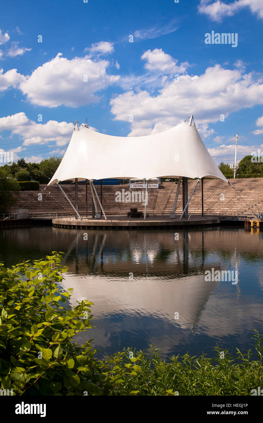 Germany, Gelsenkirchen, amphitheater at the Rhein-Herne canal at the Nordsternpark - Stock Image