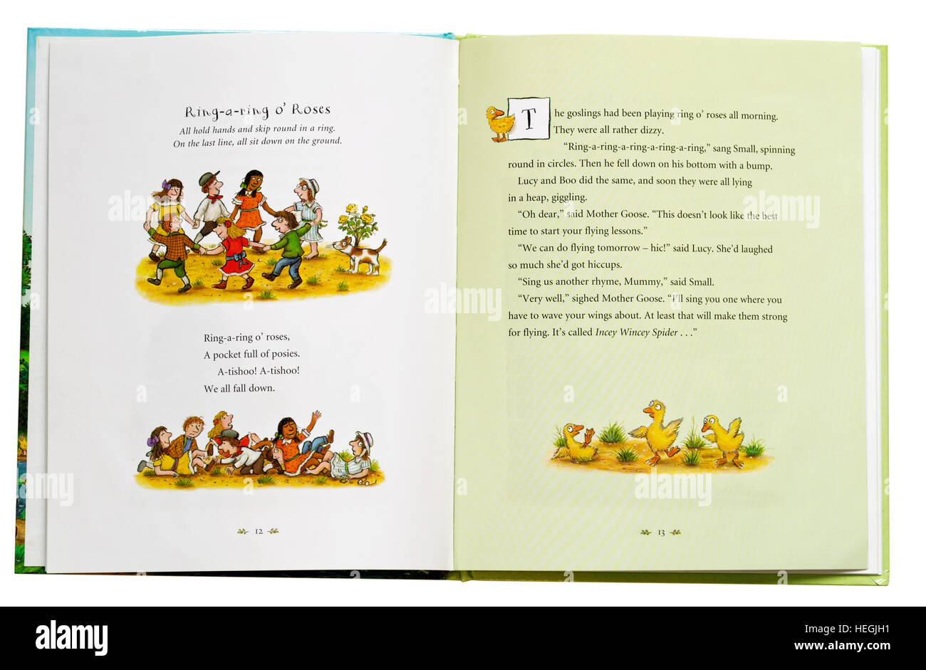 Ring a Ring of Roses nursery rhyme in a book - Stock Image